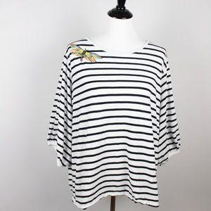 LOFT Striped Blouse XL Black White YY06